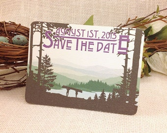 Wedding Save The Date Postcard // Catskills Mountain Couple with Canoe: Get Started Deposit