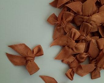 100 PCS of Satin Ribbon BROWN Copper Bows Applique Embellishments NEW!