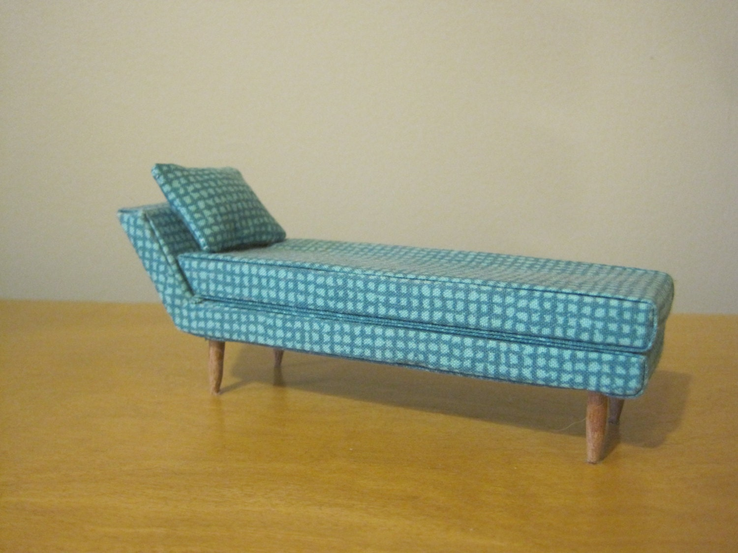 Mid century Modern Dollhouse Miniature Chaise Lounge 1 12