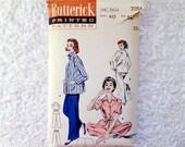Vintage Butterick Pajama Pattern 7054 Size 40 Tailored Pajamas