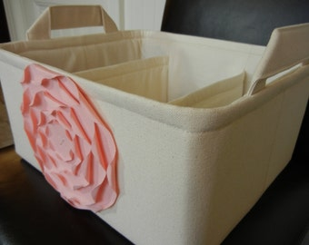 """LG Diaper Caddy(choose COLORS)12""""x10""""x6""""  Two Dividers-Fabric Storage Organizer-Baby Gift-""""Pastel Pink  Rose on Cream/Natural"""""""