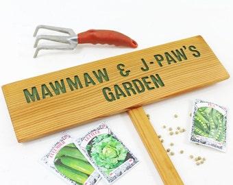 GRANDPA'S Garden, Gandma & Grandpa's Garden, Grandchild Garden Sign, Personalized Garden Sign with TWO Names