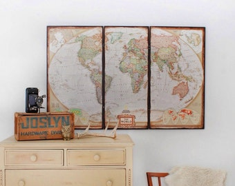 Rustic World Map. Personalized Map. World Wall Map. 45 x 30. Large World Map