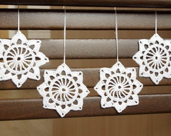 Snowflake ornament crochet Hanging ornaments White Christmas crochet decorations White snowflakes Winter decor Christmas gifts S1