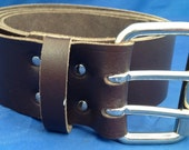 Dark Brown Leather 2 inch Wide Belt with 2 Pronged Buckle Choice of Sizes Handmade Real Leather Double Prong