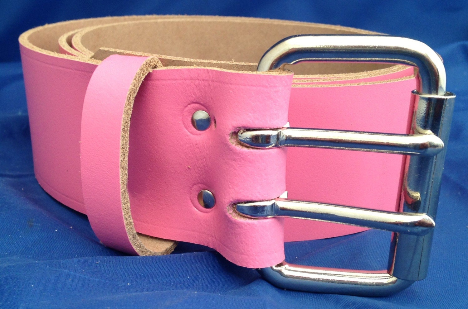 pink leather 2 inch wide belt with 2 pronged buckle choice of