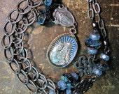 Blue Intaglio Mercury Glass St. Anne de Beaupre Assemblage Necklace