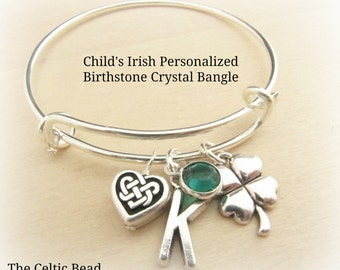 Adorable Toddler/Child Irish Personalized Stainless Steel Bangle with Birthstone Crystal of Choice