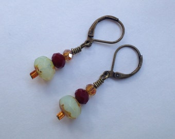 Picasso Czech Glass Earrings with Chocolate Quartz Swarovski Crystals