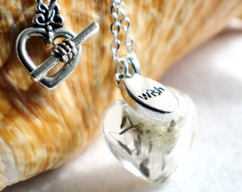 Dandelion seed necklace, heart shaped glass make a wish necklace with silver accents.