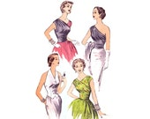 1950s Evening Blouse Pattern, Advance 6390, One Shoulder or 1/2 & 1/2 Surplice Wrap Bodice, Weskit Vest, Vintage Sewing Pattern Bust 32