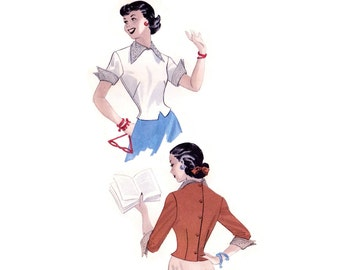 1950s Blouse Pattern Butterick 5439, Back Buttoning Blouse, Pointed Wing Collar & Cuffs, Notched Waist, Vintage Sewing Pattern Bust 30