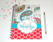 Paisley & Polka Dots Personalized Spiral Bound Journal   100 sheets   Lined or Plain Paper