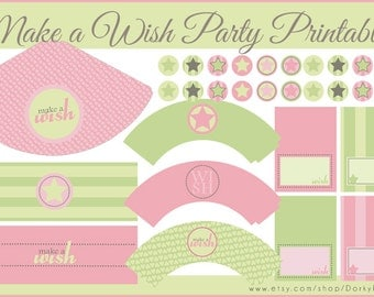 Pink and Green Birthday Party Printables PDF - Printable Party Supplies - Make a Wish Birthday DIY