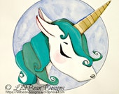AQUA blue unicorn with golden horn: a magical + whimsical ORIGINAL painting by LilliBean Designs FREE shipping