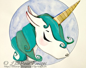 BEATRIX the last unicorn aqua +  blue unicorn with golden horn: a magical + whimsical ORIGINAL painting by LilliBean Designs FREE shipping