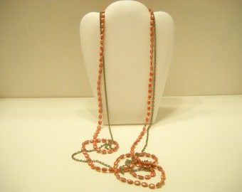 """Vintage 48"""" Double Chain & Bead Necklace (8829)"""