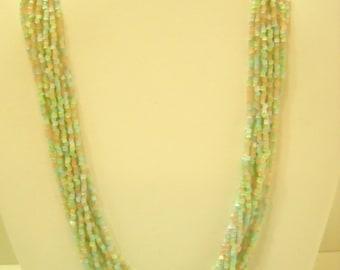Gorgeous Mint Green Glass Bead Choker Necklace (4938) Nine (9) Strands