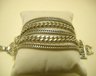 Vintage Silver Tone Bracelet (799) Five Strands of Chains