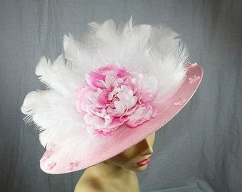 Pink Kentucky Derby Hat Flower Wedding Hat Kentucky Derby Picture Hat Church Hat