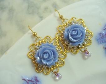 Beautiful Blue Rose Dangle Earring, Gold Filigree Earring, Womens Jewelry, Spring, Gold Wire Earrings, Rhinestones, Long Dangle Earrings