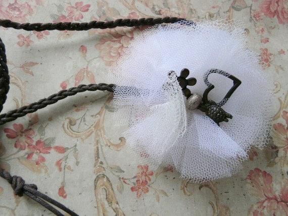 White Headband Flower, Indian Headband, White Tulle Flower, White Fluffy Ballerina Flower  Boho Chic
