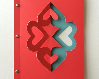 Red Four Heart Card