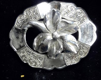 Sterling Silver Oval Floral Brooch, Marked