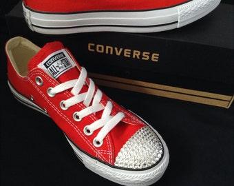 Converse Red Classic Canvas Low Top Custom Kicks w/ Swarovski Crystal Bling Rhinestone Jewels Chuck Taylor All Star Sneakers Shoes