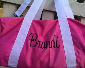 Perfect Monogrammed overnight duffle great cheer duffle, bridesmaids bag, dance bag, etc
