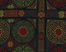Black Upholstery Fabric - Red Purple Green - Modern Heavyweight Suzani - Furniture Fabric Ikat - Woven Upholstery Yardage - Large Scale