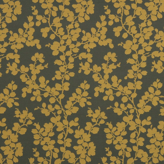Mustard Yellow Floral Upholstery Fabric Dark Gold