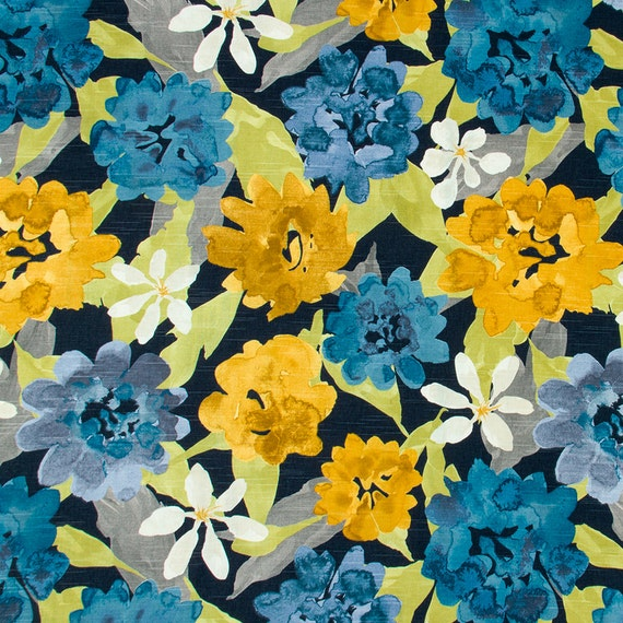 Navy Blue And Yellow Floral Upholstery Fabric Modern Blue Grey Floral Curtains Roman Shade