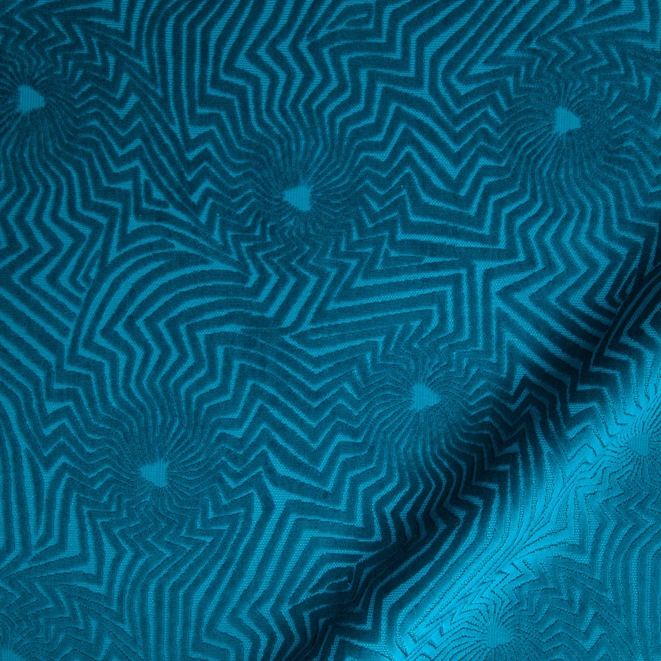 Peacock Blue Velvet Upholstery Fabric Imprinted Velvet