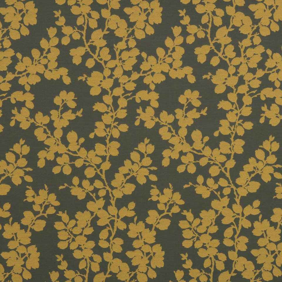 Mustard yellow floral upholstery fabric dark gold for Floral upholstery fabric