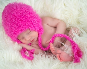 Newborn Baby Girl Hat Newborn Baby Hat Newborn Hat Newborn Photo Prop Photography Prop Bright Pink Earflap Hat Ear Flap Hat Baby Clothes