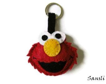 women's keychain-women's accessories-women's gifts-felt accessories-elmo-birthday gifts-accessories women felt-elmo key ring