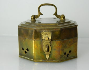 Vintage Brass Cricket Box, Pierced Brass Box, Hexagon Box, Hinged Brass Trinket Box India Brass