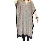 NO.166 Black and Cream Cotton Mix Printed Graphic Caftan Dress, Bohemian Caftan Dress, Day Dress