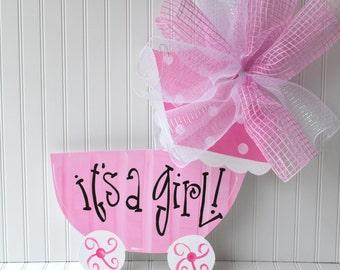 Girl Hospital Door Decoration, Baby Carriage, Baby Girl Door Hanger, Custom Baby Door Hanger