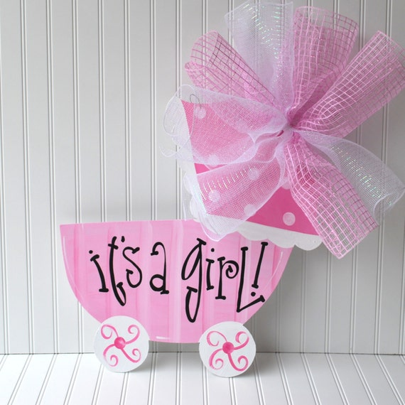 Girl hospital door decoration baby carriage baby girl door for Baby carriage decoration