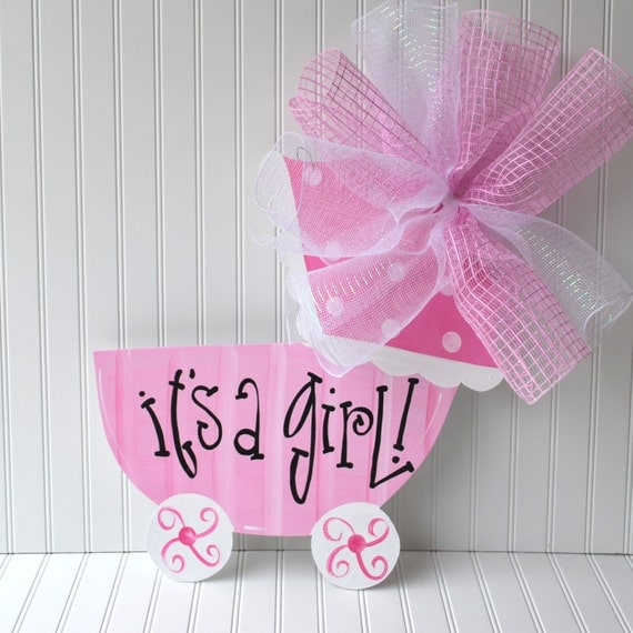 Girl hospital door decoration baby carriage baby girl door for Baby girl hospital door decoration