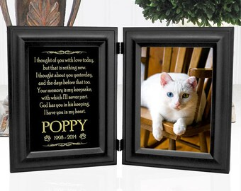 Pet Memorial Frame - Double Frame Holds 5x7 Photo - Personalized Metal Plaque Shines Like Gold - Choice Of 12 Pet Loss Poems