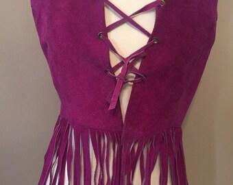 70's purple fringe waistcoat!