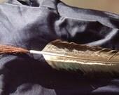 Medium Horse Hair Feather Paintbrush Quill Brush - Handmade Tool - Cruelty Free