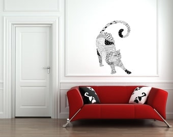 Happy Kitty WALL STICKER / Black and White / Wall Decal / Cat Lovers / Wall Sticker CAT / Free Shipping