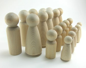 20 Peg Doll Set   Wooden Peg Dolls, Peg People,  Waldorf Montessori Wooden Figurine Cake Topper