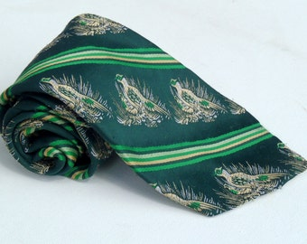 Vintage 1970s Wide Green Striped Tie with Grouses