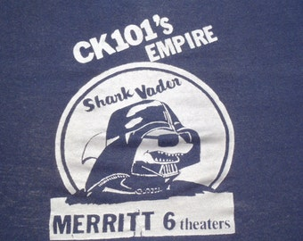 Vintage 1981 Navy Blue Shark Vader Star Wars Promo T Shirt S by Sportswear