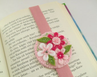 Felt embroidered bookmark with elastics Floral elastic bookmark Gift for booklover
